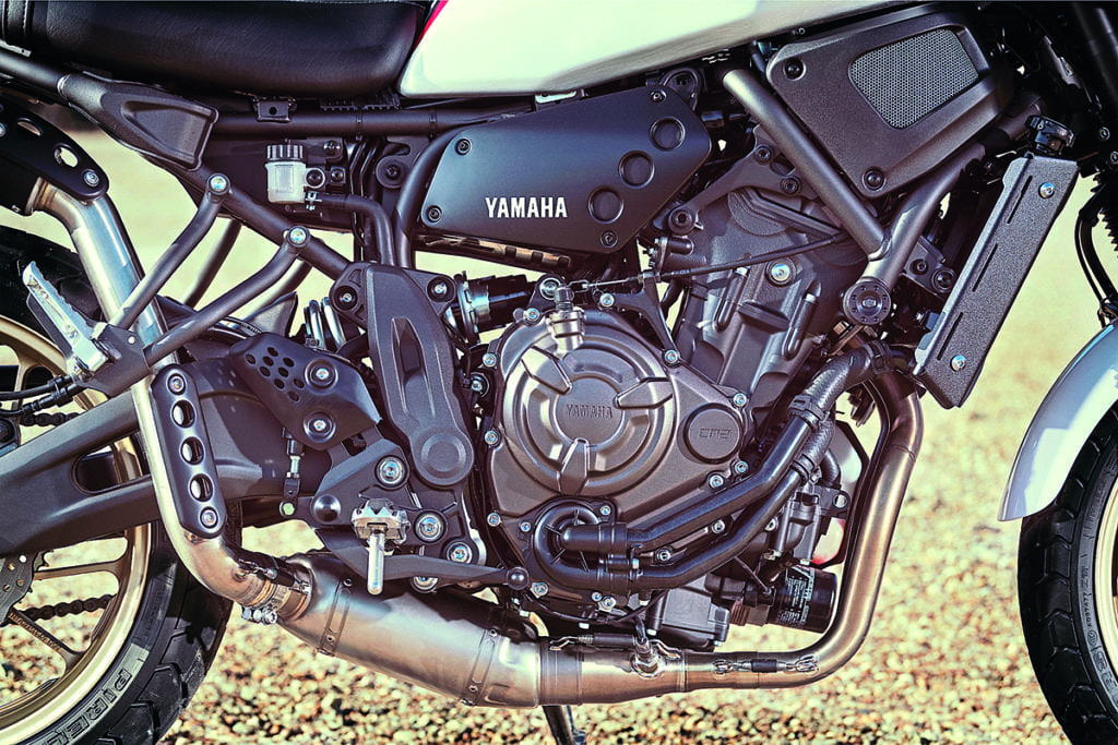 Close up of the new Yamaha XSR700 XTribute